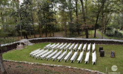 Ceremony seating by the creek. Picture courtesy of 45 Parallel Consulting LLC.