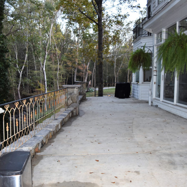 The upper patio area by the creek. Picture courtesy of 45 Parallel Consulting LLC.